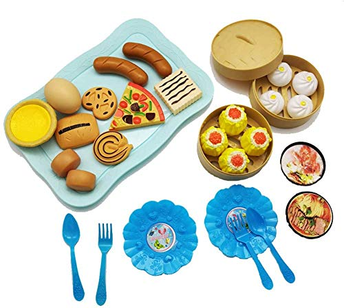 SongJX-Love Toys 31PCS Children Cute Kitchen Pretend Play Simulation Cake Simulation Food Kitchenware Cooking Set for Kids Pink - for Child Gift,Colour Name:Blue GZZXW (Color : Blue)