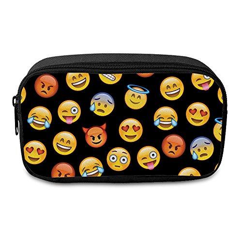 Fringoo® - Estuche de tela para lápices o neceser de maquillaje, con cierre de cremallera, diseño Unisex, color Emoji Black - Front Large
