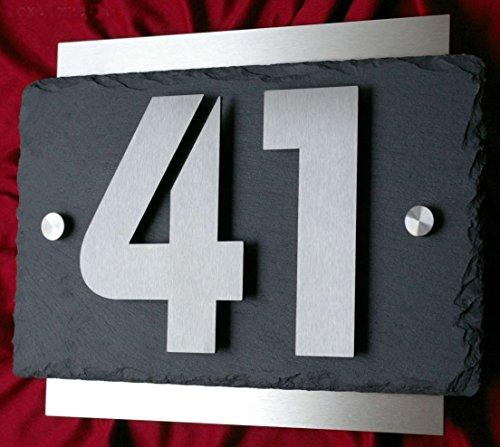 Hausnummer aus Edelstahl und Schiefer 3D Hausnummernschild Türschild Leskow Metalldesign