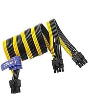 COMeap 6-pinowy męski na podwójny 8-pinowy (6 + 2) PCIe GPU kabel adaptera do BTC Miner Cooler Master i Thermaltake PSU z 6-pinowym portem 25 cali + 9 cali (63 cm + 23 cm)