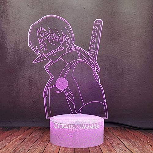Sasuke Modelo De Hora De Dormir Lámpara De Escritorio Hogar Led3D Luz De Noche Lámpara Remoto Fuente De Alimentación De Animación Japonesa Regalo De Cumpleaños De Color Usb7 Para Adolescentes Y Niños