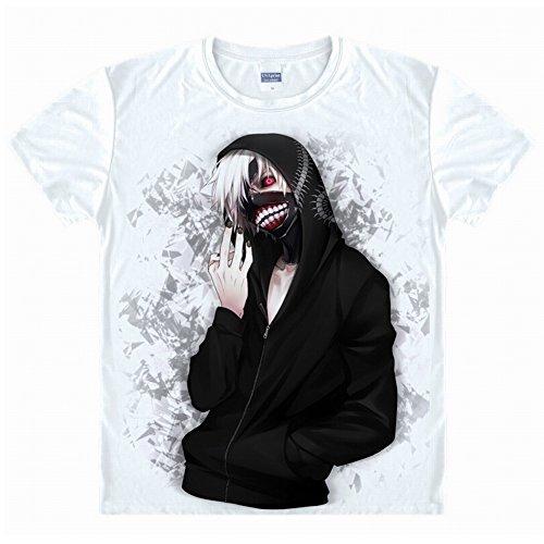 Jeylu Tokyo Ghoul Anime Kaneki Ken Cosplay Costume t Shirt Taille Asiatique L