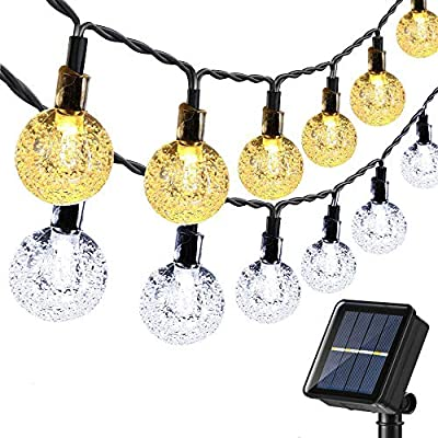 Joomer Globe Solar String Lights, 39Ft 60 LED 2-in-1 Color Changing Crystal Ball, Fairy String Lights for Patio, Lawn, Porch, Gazebo, Bistro (White & Warm White)