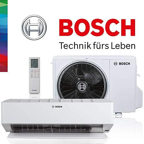 BOSCH Climate 8000i Split Klimaanlage 3,5 kW 12000 BTU, für bis zu 50 qm, Invert Klimagerät Split, A++ Kühlen, A+ Heizen, inkl. MontageSet, Kältemittel R32, Fernbedienung