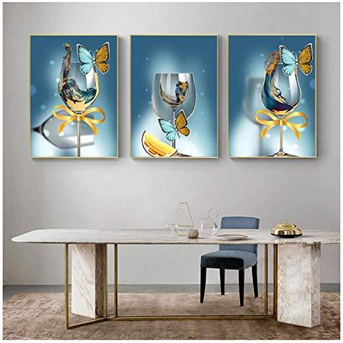 WLKQY Abstracto moderno mariposa copa de vino arte lienzo arte de la pared pinturas imágenes artísticas para la decoración del hogar de la sala de estar-50x70cmx3 sin marco