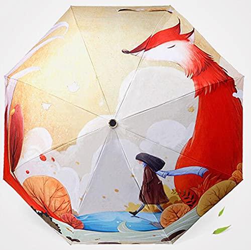 XIKONG Mini Paraguas a Prueba de Viento compactas de Viaje - Pequeños Paraguas Luminosos y de Lluvia Plegables con protección UV para Mujeres Hombres Fox