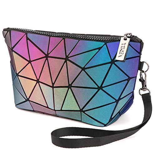 Tikea Schminktasche - Kosmetische Klein Make up Tasche, Kosmetikkoffer Geometrische Make up Handtasche Mädchen, Leuchtend Make-Up Clutches