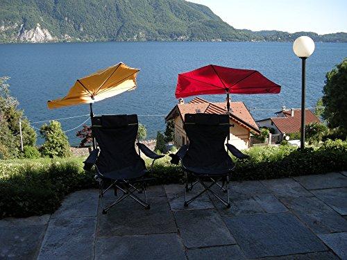 Actieve aanbieding - zonnescherm - SET - outdoor vrijetijdsstrand-reisset - 2-delige vrije tijd - strand SET - STABIELO Hollysunny ® strand en vrije tijd - + VACHER zonnescherm - hoge UV-bescherming - kleur oranje + 110 kilo belastbaar ACHTER. X vouwstoel met hoge rugleuning - kleur donkerblauw met groene decoratieve strepen en afneembare beensteun - drinkbeker opname holly-sunshade ®