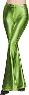 WSPLYSPJY Women's Shiny Leggings Bell Bottom Flare Pants Metallic Bootcut Palazzo Retro Pants