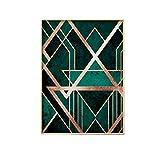 LiMengQi Colores nórdicos de Moda Arte de la Pared Pintura de Lienzo Líneas geométricas abstractas Cartel de Arte Imprimir Imagen de Pared para Sala de Estar (sin Marco)