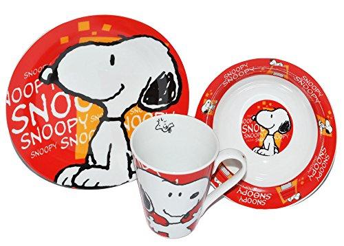 alles-meine.de GmbH 3 TLG. Geschirrset Snoopy - die Peanuts - Porzellan Trinkbecher + Teller + Müslischale - Kindergeschirr Keramik Frühstücksset für Kinder Jungen Mädchen Hund C..
