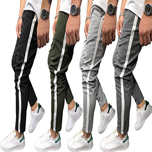Shawnlen Männer Casual Skinny Track Pants Slack Bottoms Chino Slim Fit Hose Langer Trainingsanzug mit Taschen S-3XL (L, schwarz)