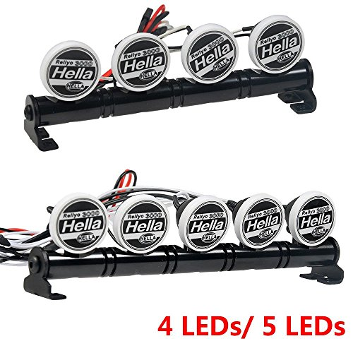 Benedict Harry Metal Roof LED Light Bar 4 LEDs 5 LEDs for SCX10 D90 TRX-4 1:10 RC Crawler Truck (5Leds)