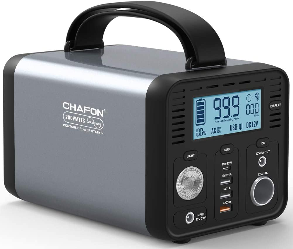 CHAFON Portable Power Station CF230,230WH Lithium Battery Backup,110V/200W Pure Sine Wave AC Outlet,Solar Source for Outdoors Camping,Road Trips,Emergency (Grey)