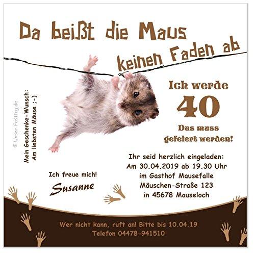 Unser-Festtag Maus am Faden Nr. 2 zum Geburtstag Erwachsene, Mann Frau - für jedes Alter - 20 Karten