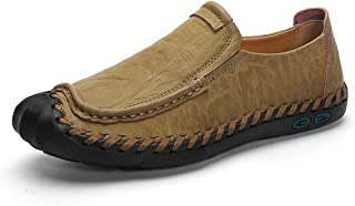 DRON TOOON Casual Men's Genuine Leather Penny Loafers Comfortable Slip-On Boat Flats Driving Shoes (11.5, Brown) Beige Size: 11
