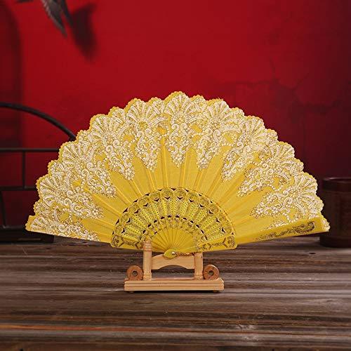 XKMY Abanico de artesanía de estilo chino de baile de boda fiesta de encaje de seda plegable de mano flor ventilador partido rendimiento de mano accesorios 02