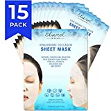 Ebanel Korean Collagen Facial Face Mask Sheet, 15 Pack, Instant Brightening and Hydrating, Deep Moisturizing with...