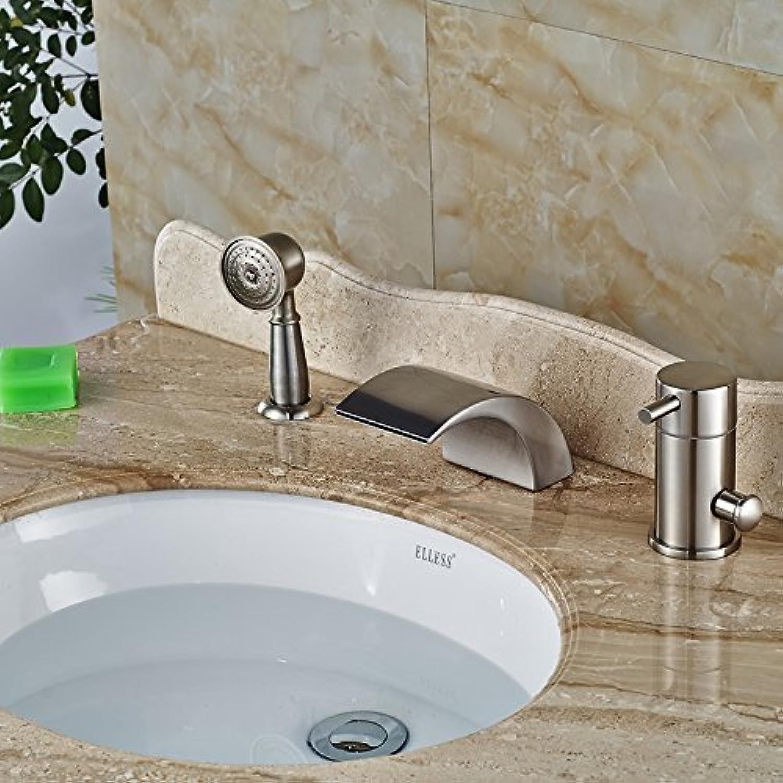 Deck Mout Dusche Badewanne Armatur einzigen Griff Farbe ndern Badewanne Mischer Whirlpool Füller aus gebürstetem Nickel-Led