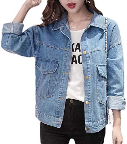 Tianzek Women Casual Jean Coat Long Sleeve Button Down Denim Jean Jacket