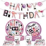 JeVenis 33 PCS Maquillaje Fiesta de Cumpleaños Suministros Spa Suministros de Cumpleaños Platos de Fiesta Salón Suministros