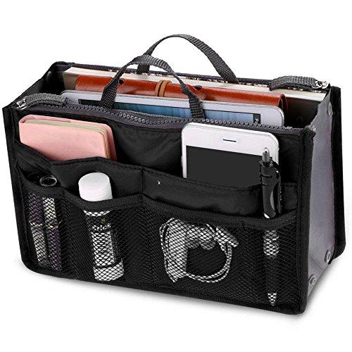 New_Soul dames Travel Insert Handtas Organiser Tidy tas portemonnee Liner Cosmetische 13 Pocket Zwart
