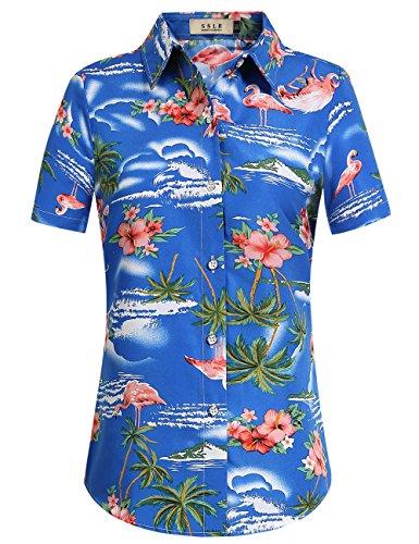 SSLR Damen Hawaiihemd Hawaii Bluse Kurzarm Flamingos 3D Gedruckt Freizeit Lose Aloha Shirts Tops für Strand Reise (Medium, Saphirblau)