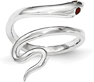 Lex & Lu Sterling Silver Snake w/Synthetic Ruby Toe Ring