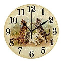 simono 10-inch Silent Non-Ticking Round Wall Clocks Cats Prints Dual-Purpose Clock, Battery Operated Easy to Read Clock for Living Room Home Office