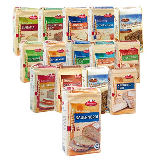 BIELMEIER KÜCHENMEISTER Brotbackmischung 15-teiliges Kennenlern-Set á 500 g made in Germany