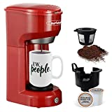 Single Serve Coffee Maker, Single Cup Coffee Maker for Capsule Pod Ground Coffee, Coffee Machine...