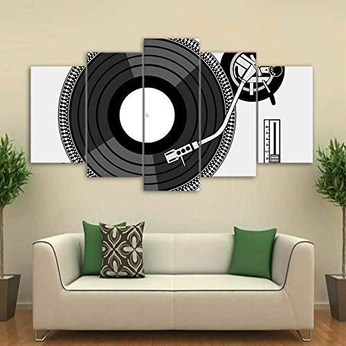 Alenijun platenspeler 5 panelen afdrukken op canvas foto's muurkunst schilderijen moderne posters kunstwerk woonkamer slaapkamer wooncultuur frame 20x35cmx2 20x45cmx2 20x55cmx1
