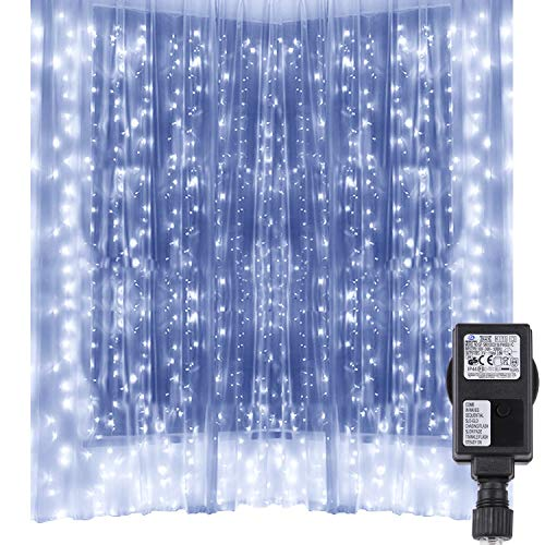 Lichtervorhang 300 LED, Speclux 3 x 3 M Lichterkette Strombetrieb 8 Modi IP44 wasserfest Eiszapfen Leichte Saiten für Innen Außen Garten Party Hochzeit Weihnachten (Weiß)