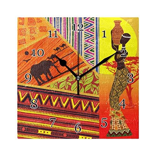 Reloj de Pared de Chevron de Elefante Africano para Mujer, Reloj de Pintura de Arte Cuadrado silencioso sin tictac para decoración de la Escuela de la Oficina en casa