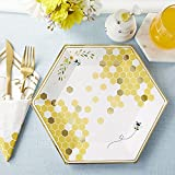 Kate Aspen Sweet as Can Bee Decorative Plates, 9 INCH, Yellow