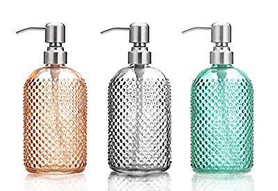Makry Soap Dispenser, Glass Hand Soap Dispenser Pump Bottles for Bathroom or Kitchen Sink, Lotion Bottle with Stainless Steel Pump, 15 Ounce, 3 Pack Set?2020 Upgraded Version?