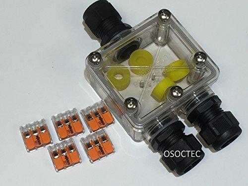 Preisvergleich Produktbild PROFI -Verbindungsbox klar,  NEU inkl. 5x 3-fach Compact-Verbindungsklemmen,  für 5-adrige Kabel,  Kabelverbinder,  IP68,  Kabelmuffe wasserdicht,  fuer 230V oder 12V / 24V