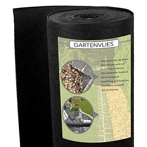 AGRI plus Premium Unkrautvlies - Hochwertiges Gartenvlies mit starker UV-Beständigkeit - wasserdurchlässig und extrem reißfest - für perfekten Unkrautschutz (100g / m2, 1,6m x 25m)