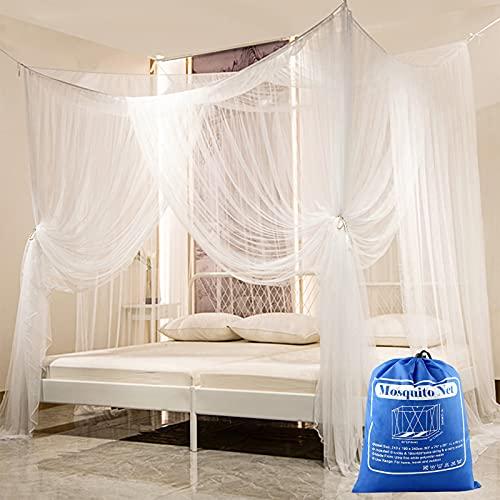 Mosquitera Cama, yotame Mosquito Net 240 x 210 x 190 cm, Mosquitera para cama Matrimonio Repelente natural Mosquitera Grande Cuadrados ligero y transpirable para interior y exterior, Blanco