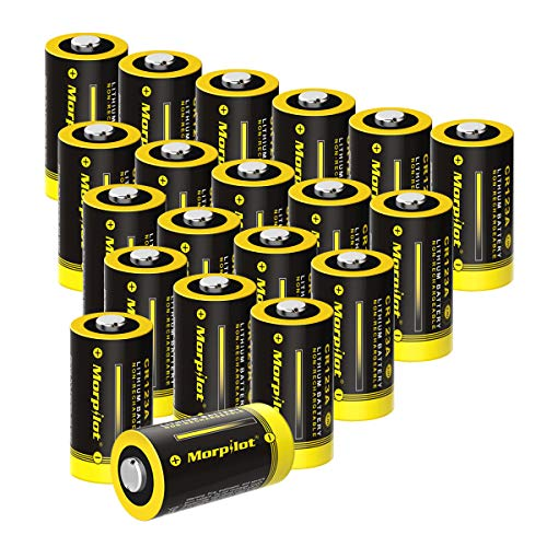 3V CR123A Lithium Battery, High Capacity 1500mAh Non-Rechargeable CR123A Batteries PTC Protected for Flashlight, Camera, Toys, Alarm System (Not Compatible with Arlo Cameras) (20PCS) (Yellow)