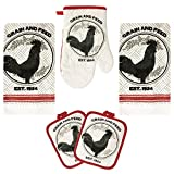 Rooster Kitchen Decor Linen Set Includes 2-Towels 2-Pot Holders 1-Oven Mitt | Grain and Feed Rooster Theme Kitchen Towel Set For Cooking, Baking, Housewarming & Kitchen Decoration (Set of 5 Piece)