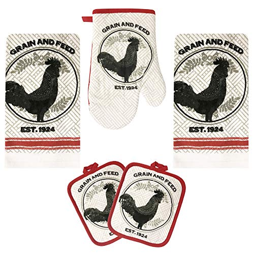 Rooster Kitchen Decor Linen Set Includes 2-Towels 2-Pot Holders 1-Oven Mitt   Grain and Feed Rooster Theme Kitchen Towel Set For Cooking, Baking, Housewarming & Kitchen Decoration (Set of 5 Piece)