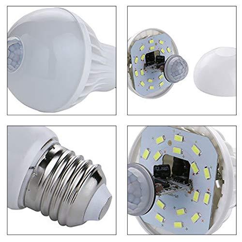 Lámpara LED con sensor de movimiento PIR de 220 V, lámpara LED para coche, inteligente PIR, sensor de movimiento, casquillo E27