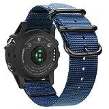 FINTIE Correa Compatible con Garmin Fenix 6X/Fenix 3/Fenix 3 HR/Fenix 5X - 26mm Pulsera de Repuesto de Nylon Tejido Banda con Hebilla de Metal, Azul Oscuro