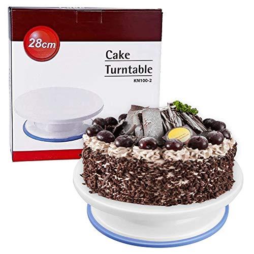 WENTS - Piatto girevole per torte con piedistallo per decorare torte e torte, diametro 28 cm