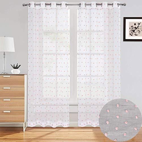 LinTimes Juego de cortinas de gasa con textura de lino bordadas con pompones de gasa para dormitorio, sala de estar, 130 x 150 cm, 2 paneles, pompones rosados