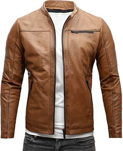 Crone Epic Herren Lederjacke Cleane Leichte Basic Jacke aus robustem Rindsleder (XXL, Heavy Washed Cognac (Rindsleder))