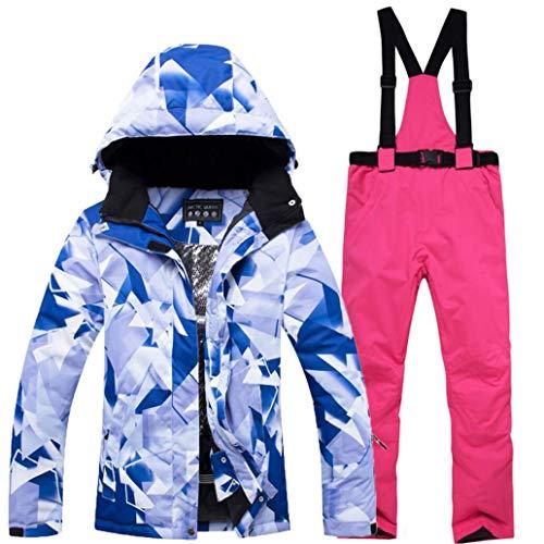 Z&X Skijacke - Wasserfester Skianzug Schneeanzug Winter Skifahren Warm halten Unisex-Skijacke und -Hosen-Set für Snowboard, Bergsteigen - Mehrfarbig,Pink,S