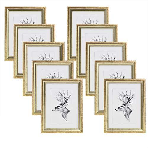 WOLTU 10er Set Bilderrahmen,10x15cm Artos Stil Holzrahmen Fotogalerie Glasscheibe,Gold
