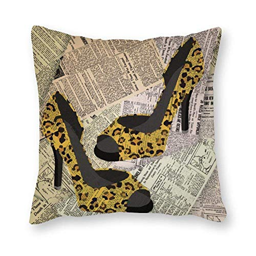 shenguang Canvas Square Throw Pillow Cases Cushion Covers for Bed Sofa Couch Car, Leopard High Heels